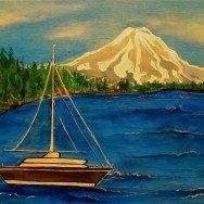 Sailboat with Rainier