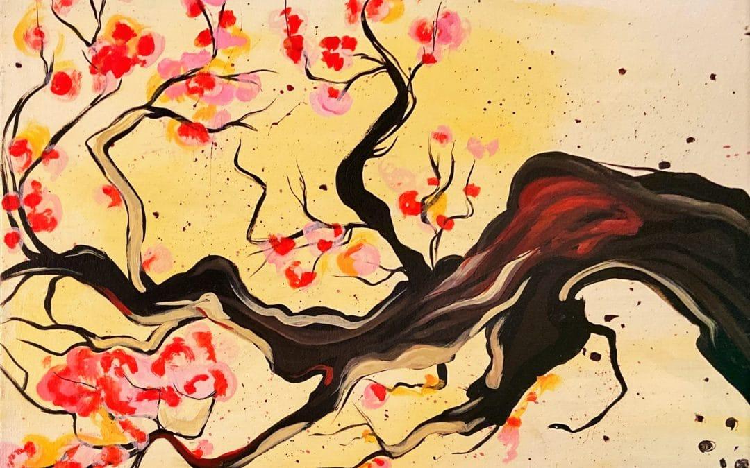 Oriental Blooms Live Stream Paint & Sip Event