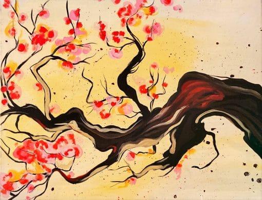 Japanese Cherry Tree branch painting